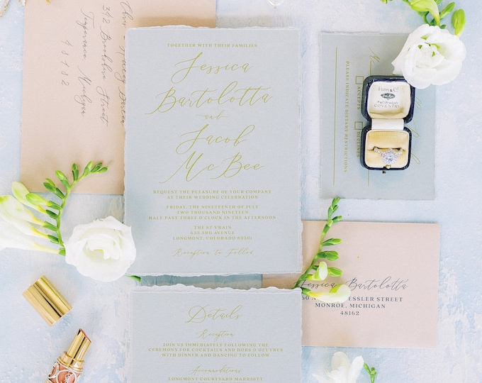 Soft & Romantic Wedding Invitation in Grey, Blush and Gold, Ripped Edges, Water Color Envelope Liner and Addressing — Other Colors Available