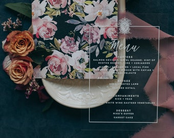 Transparent Acrylic-Like Menu with White Ink and Backer in Black Featuring Florals in Blush Pink, Purple, White and Ivory