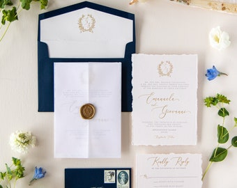 Gold Wax Seal Vellum Jacket Enclosed Wedding Invitation in Navy with Deckled Edges and Wreath Monogram on Pale Pink Paper - Other Colors