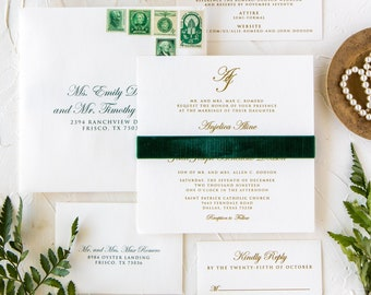 Classic & Elegant, Formal Monogram Wedding Invitation with Green Velvet Band, Metallic Gold Thermography, Liner and Addressing — More Colors