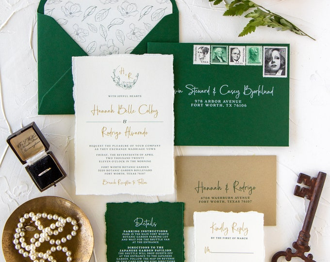 Metallic Gold & Emerald Green Wedding Invitation with Torn Edges, Soft Floral Monogram Wreath, Envelope Liner and Calligraphy — Other Colors