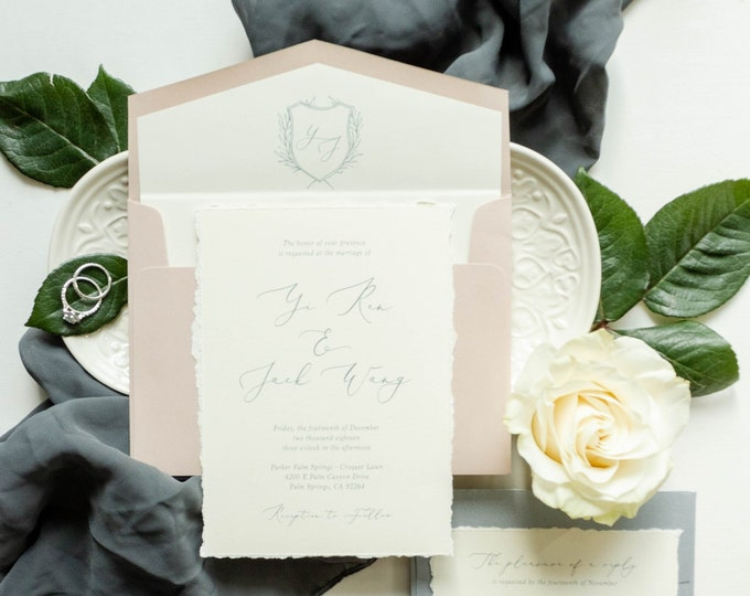 Silver & Blush Monogram Crest Wedding Invitation with Calligraphy in Grey, Ivory and Pink — Envelope Liner, Guest Address Printing