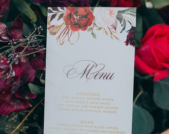 4x8 Metallic Gold, Burgundy, Blush Pink Floral Flowers Printed Wedding Menu