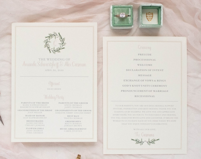 Printed Wedding Program with Greenery Leaves Wreath Monogram in Blush and Ivory