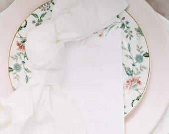 Blush Floral and Greenery Printed Wedding Menu with Soft Pink Calligraphy Script on White Paper —Different Colors Available!