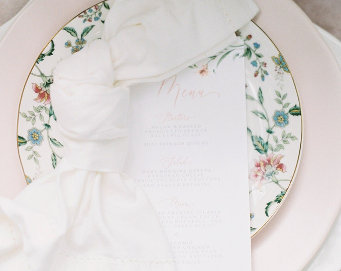 Blush Floral and Greenery Printed Wedding Menu with Soft Pink Calligraphy Script on White Paper — Different Colors Available!