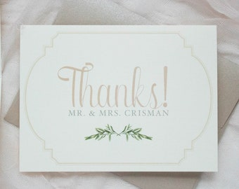 Thanks! Classic Timeless Folding Wedding Thank You Cards with Greenery Leaves Wreath Monogram in Blush and Ivory