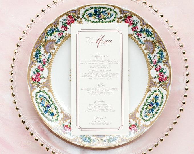Pale Pink Elegant Menu with Simple Frame and Formal Script in Burgundy, Marsala & Blush — Different Colors Available!