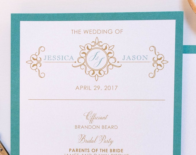 Jade, Teal, Turquoise & Champagne Gold Scroll Formal Monogram Printed Wedding Program - Other Color Options!