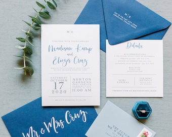 Navy Blue & White Modern Wedding Invitation, Simple Design, Fun Calligraphy Script, Belly Band and Address Printing — Other Colors