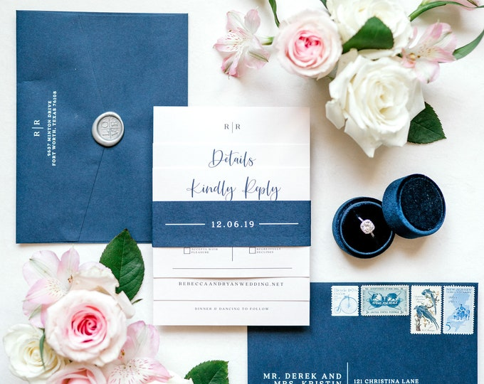Navy Blue & Pale Pink Modern Wedding Invitation, Simple Design, Fun Calligraphy Script, Belly Band and Address Printing — Other Colors