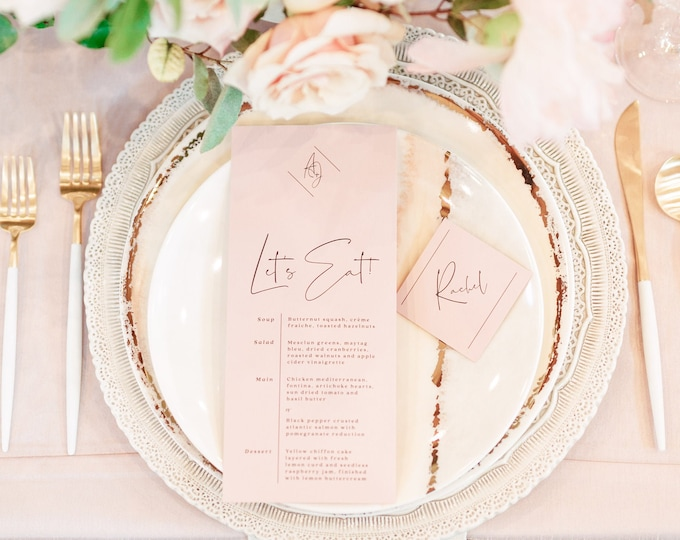 Blush Pink Coral Modern Minimal Wedding Menu with Black Text and Calligraphy Script — Different Colors Available!