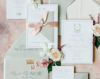 Custom Floral Water Color Monogram Crest in Pale Pink, Blush & Silver with Satin Ribbon, Envelope Liner and Guest Addressing —Other Colors!