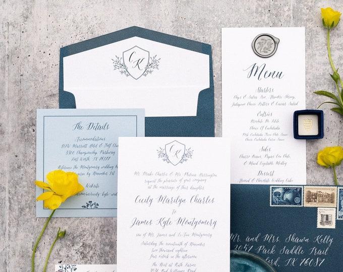 Shades of Blue Modern Calligraphy Wedding Invitation with Monogram Crest, Envelope Liner, Details, RSVP, Envelopes & Address Printing