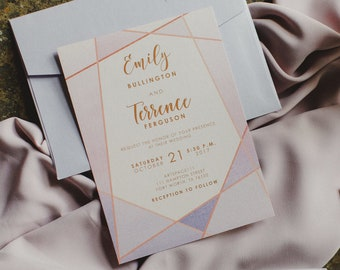 Rose Gold, Blush Pink & Purple Lavender Modern Geometric Water Color Wedding Invitation with Details and RSVP (Other Color Options)