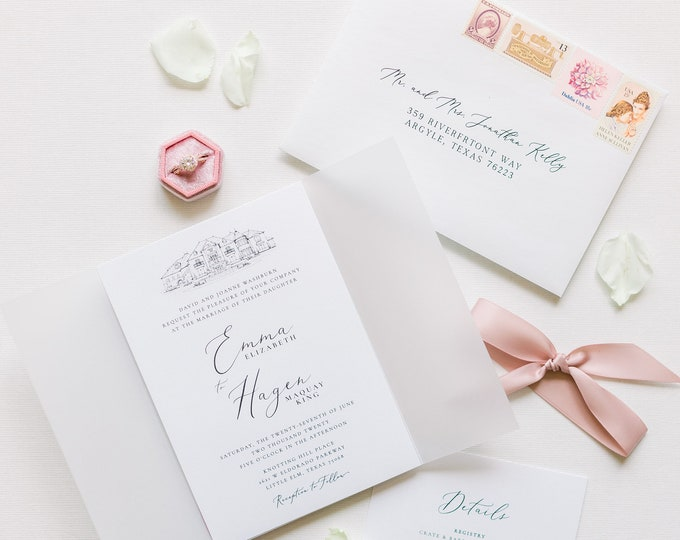 Custom Wedding Venue Sketch Illustration Invitation with Vellum Wrap in White with Blush Satin Ribbon - Other Colors Available!
