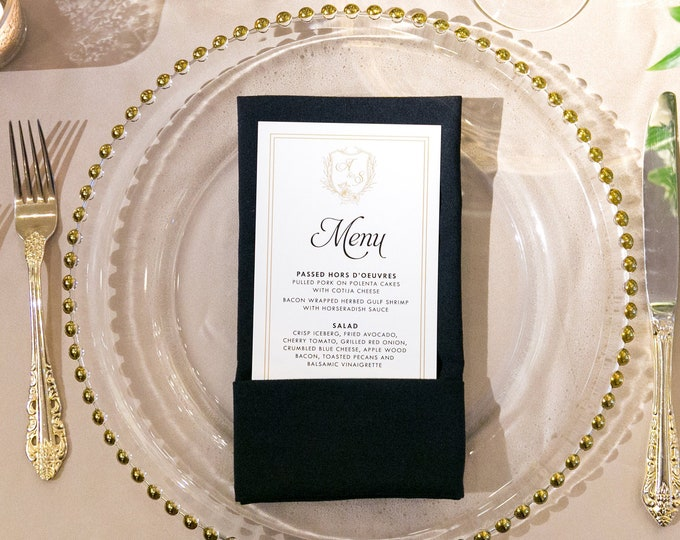Formal Elegant Hand Drawn Crest Greenery Monogram Leaves Black & Gold Wedding Menu