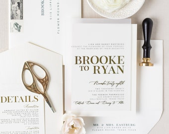 Modern + Simple Gold Foil Wedding Invitation on Vellum with Ivory Pocket, Details & Envelopes, Minimal Design — Other Colors Available!