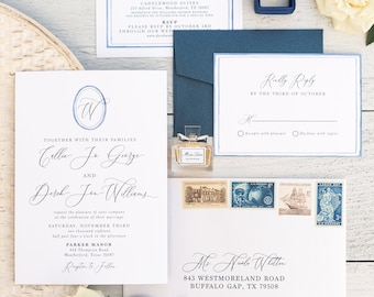 Simple Oval Monogram Wedding Invitation in Blue Water Color with Modern Calligraphy, Custom Map, Details, RSVP, Envelopes & Address Printing