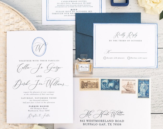Oval Watercolor Monogrammed Wedding Invitation in Blue with Modern Calligraphy, Custom Map, Details, RSVP, Envelopes & Address Printing