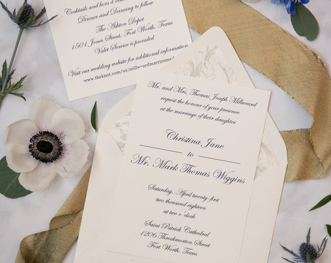 Letterpress Traditional Formal Elegant Cobalt Navy Blue, Champagne Gold Thermography Wedding Invitation with Details & RSVP - Other Colors