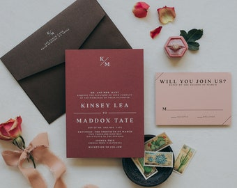 Minimal Monogram Simple Wedding Invitation in Dusty Rose, Pale Blush Pink and Chocolate Brown - Different Color Options