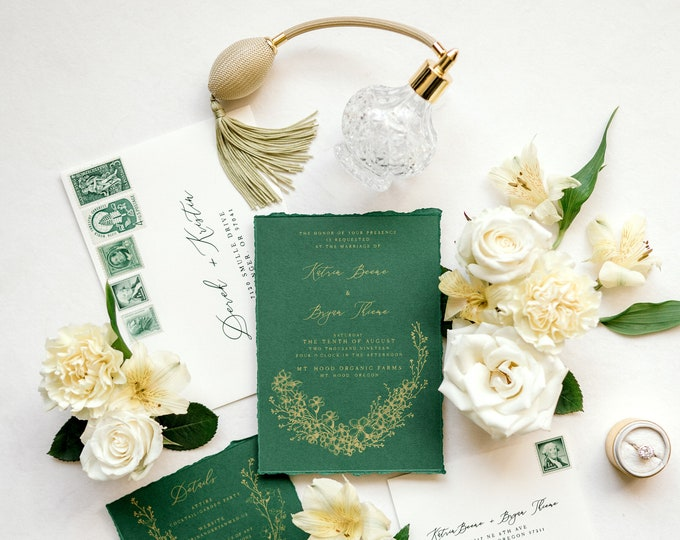SAMPLE Metallic Gold & Forest Green Wedding Invitation with Torn Edges, Ripped Edges, Calligraphy and Delicate Hand Drawn Floral