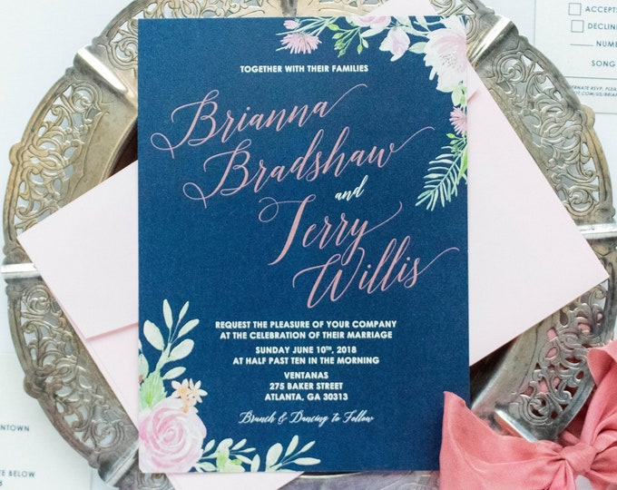 Navy Blue & Blush Pink Rose Gold Water Color Floral Flowers Wedding Invitation with RSVP, Details and Envelope Liner - Other Colors