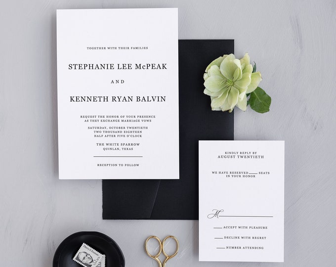 Modern Black and White Simple Minimalist Wedding Invitation with All Block Type, Guest Addressing and Details Insert — Other Color Options