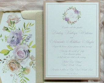 Pastel Blush Pink and Pale Purple Wedding Invitation in Lavender with Water Color Floral Wreath, Envelope Liner and RSVP - Other Colors