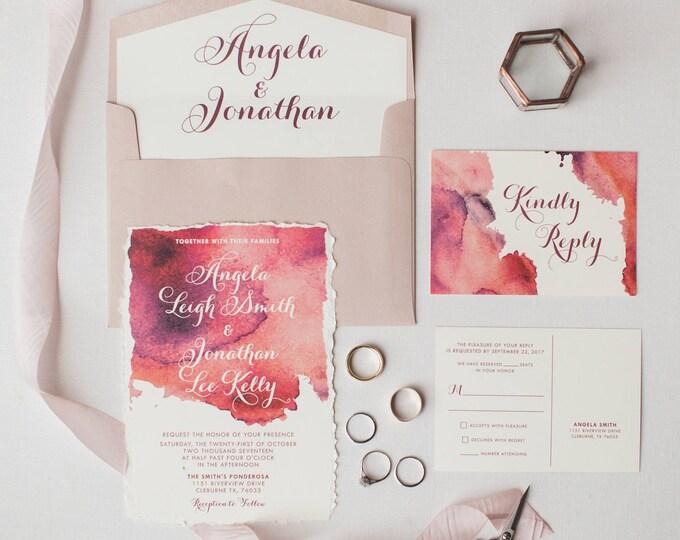 Water Color Wedding Invitation in Pink Blush, Marsala Burgundy — Envelope Liner and RSVP