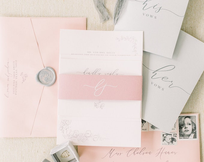 Shades of Blush Pink & Grey Wedding Invitation, Delicate Hand Drawn Floral with Monogrammed Belly Band and Address Printing - Other Colors