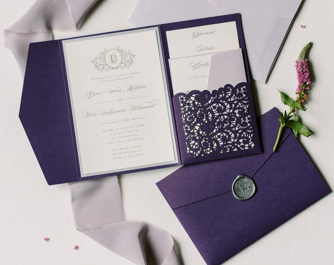 Lace Laser Cut Pocket Wedding Invitation, Formal & Elegant in Purple, Lavender and Silver with Wax Seal —Other Colors!