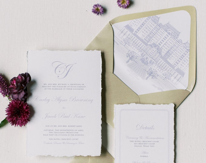 Wedding Invitation with Custom Venue Sketch Illustration, Simple Script Monogram and Ripped Edges in Lavender, Purple & Gold — Other Colors
