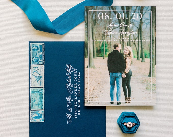 Classy, Formal Photo Wedding Save the Date in Navy Blue & Whiter with Envelope and Guest Addressing — Different Colors Available!