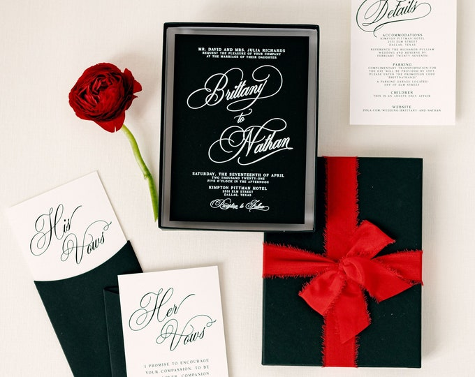 Modern and Minimal Boxed Wedding Invitation in Black & White with Red Satin Ribbon and Calligraphy Script - Different Color Options!