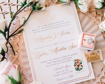 Classy Elegant Rose Gold Foil Formal Luxury Letterpress Flowy Script Wedding Invitation Suite with RSVP & Envelope - Other Color Options
