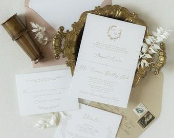 Beige and Blush Letterpress + Gold Foil Stamp, Formal Wedding Invitation with Delicate Monogram Envelope Liner — Other Colors Options!
