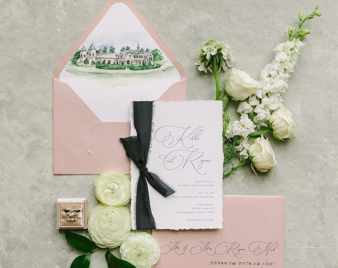 Simple + Clean Minimal Wedding Invitation with Navy Silk Ribbon in Blush Pink, Venue Illustration and Calligraphy Script — Different Colors