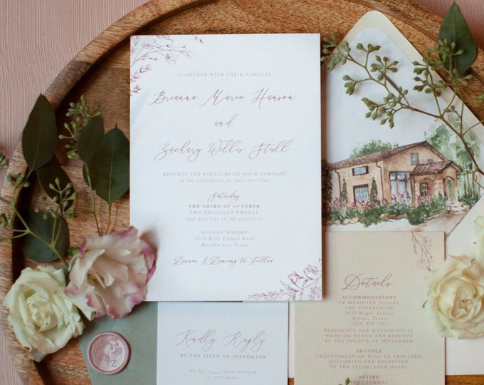 Blush & White Invitation with Wedding Venue Sketch in Envelope Liner, Vellum Belly Band and Wax Seal with Guest Addressing —Other Colors!