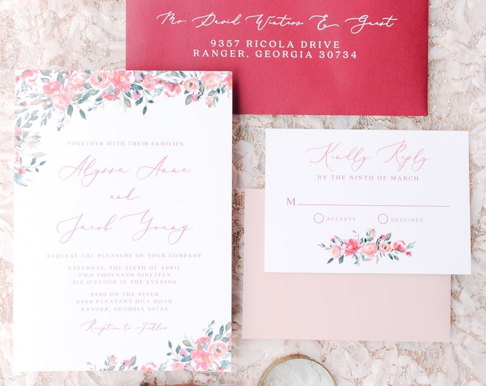 Boho Red & Burgundy Floral Wedding Invitation with Blush Pink Accents and Calligraphy Script - Other Colors Available
