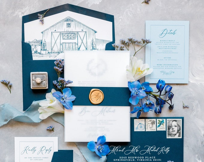 Vellum Wrapped Wedding Invitation, Navy Blue Band and Gold Wax Seal. Features Sketch Drawn Venue Illustration on Liner — Other Colors Avail