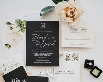 Simple Minimalist Modern Geometric Monogram Black & White Wedding Invitation with Calligraphy and Blush Floral - Different Color Options!