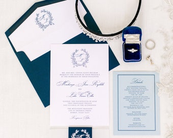Navy & Dusty Blue Monogram Wedding Invitation with Traditional Formal Script, Details, Vellum Band, Liner + Address Printing — Other Colors!