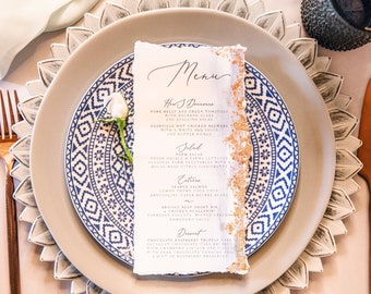 Gilded Copper Foil Menu with Blue Water Color and Calligraphy Printed Wedding Menu