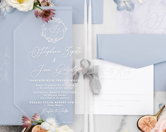 CUSTOM ORDER Clear Acrylic Luxury Wedding Invitation with White Calligraphy and Blue — Transparent with Floral Monogram w/Vellum & Envelopes