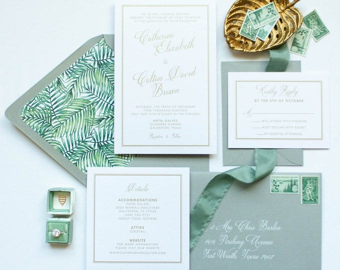 Tropical Beach Green Palm Tree Leaves in Classic Gold, White and Gray Wedding Invitation, RSVP & Address Printing - Other Colors Available