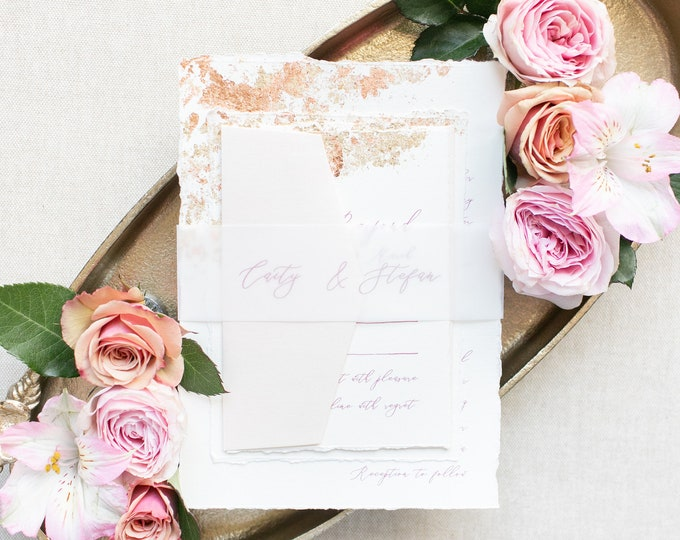 Copper and Gold Foil Flakes Wedding Invitation with Ripped Edges, Vellum Belly Band, Modern Calligraphy in Blush Pink - Other Color Options
