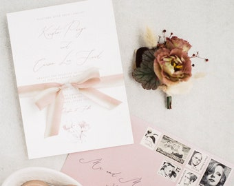 Blush & Grey Soft, Delicate Floral Wedding Invitation with Modern Calligraphy and Mauve Envelope with Addressing - Other Colors Available