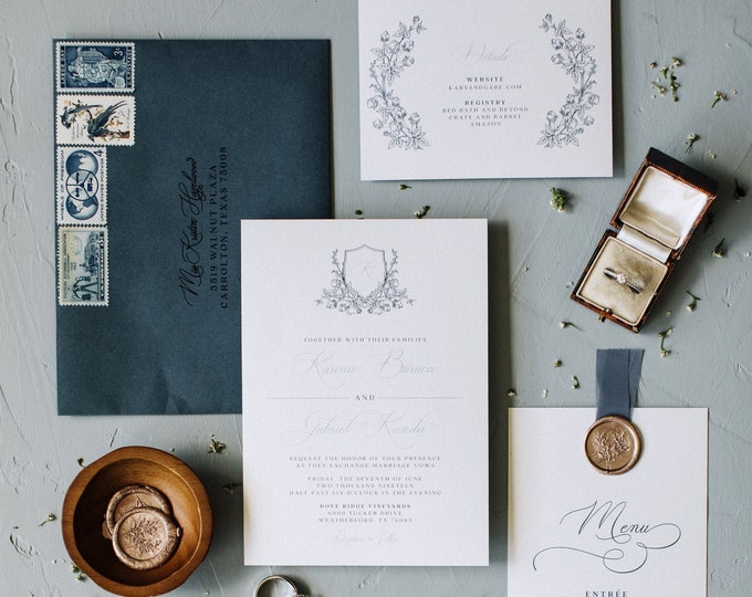 Romantic Floral Crest Monogram Wedding Invitation, Vintage Elegance in Slate Blue and French Blue - Details Insert & Address Printing